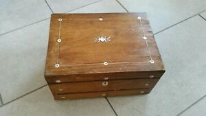 Antique Victorian Wooden Sewing Box With Mother Of Pearl Inlaid