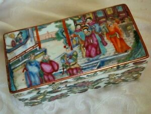 Late Qing Famille Rose Chinese Hand Painted Empress Scene Porcelain Lidded Box