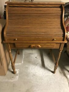 44 5 Antique Oak Roll Top Desk 5 Drawers 5 Slots Computer Home Office Student