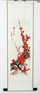 Vintage Chinese Artist Signed Hand Painted Silk Floral Scroll Red Flower Bloom