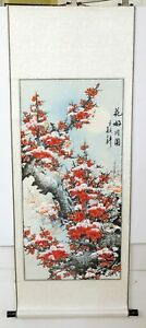 Vintage Chinese Artist Signed Hand Painted Silk Red Flowers In Winter Snowfall