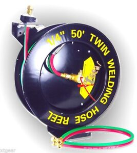 Auto rewind Retractable 50 ft X 1 4 inch Twin Welding Hose Reel With Rubber Hose