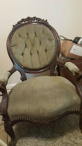 Antique Victorian Chair Balloon Back Gentleman S Parlor Arm Chair Carved Nice