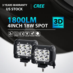 2x 4 18w Cree Led Work Light Bar Flood Offroad Fog Lamp 4wd Suv Pickup Van Atv