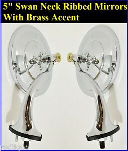 Swan Neck 5 Inch Ribbed Rearview Mirrors With Brass Accent Hot Rod Streetrod