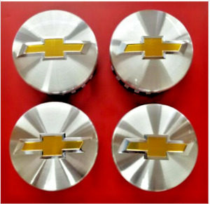 Set Of 4 Chevy 3 25 83mm Brushed Aluminum Center Caps Years 2014 2017
