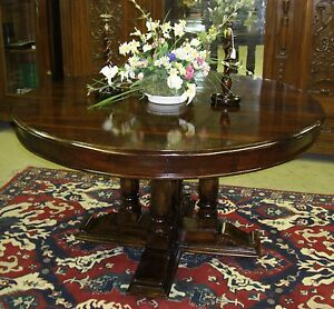 Antique Style Country French 54 Round Solid Hardwood Dining Room Entry Table