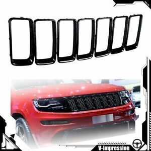 7x Black Vent Hole Grille Trim Ring Insert For Jeep Grand Cherokee Wk2 2014 2016