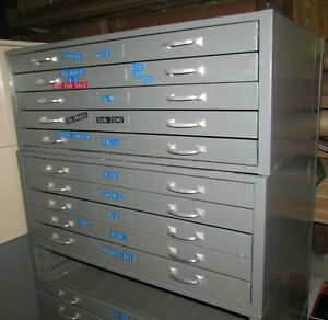 3 Sections Of Medium Size Flat File Map Cabinets 15 Drawers With Top And Base