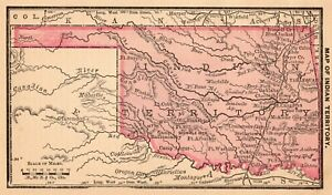 1888 Antique Indian Territory Map Miniature Vintage Map Of Oklahoma 6721