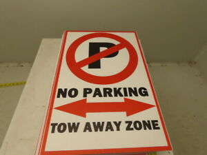 18x12 Corrugated Plastic Traffic Control Sign No Parking Tow Away Zone Lot 20