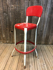 Vintage Red Cosco Stool Metal Rustic Industrial Side Chair Bar Loft Shop Counter