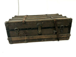 Vintage Wood Steamer Trunk Low Chest Coffee Table Storage Box Steamship Antique