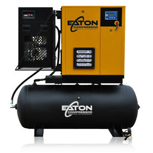 10hp Rotary Screw Air Compressor With Dryer Package 120 Gallon Tank Single Phase