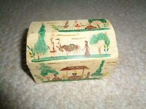 Mexican Folk Art Small Hand Painted Ring Jewelry Chest Courtship Benito Colonial