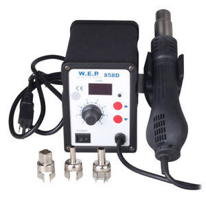 858d Smd Rework Station Soldering Hot Air Gun Solder Iron Welder Esd 3 Nozzles