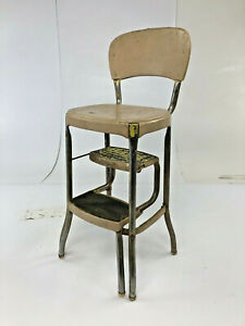 Vintage Cosco Step Stool Metal Rustic Industrial Side Chair Bar Loft Folding 60s