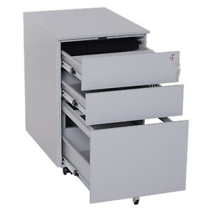 24 Metal 3 Drawer Locking Under Desk Filing Cabinet On Wheels Grey New V9q6