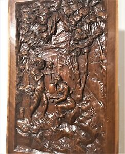Galant Scene Fountain Panel Antique French Solid Wooden Architectural Salvage