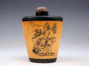 Bone Crafted Snuff Bottle Exotic Ancient Figurines Painted W Spoon 06151908