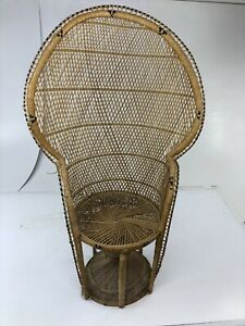 Vintage Peacock Chair Wicker High Back Fan Rattan Mid Century Bohemian Sunroom