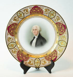 Royal Vienna Porcelain Cabinet Portrait Plate Of George Washington Relief Gilded