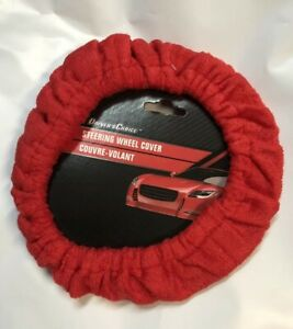 Red Driver Soft Plush Fuzzy Auto Car Steering Wheel Cover