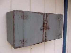 Primitive Small Wall Hanging Cabinet Cupboard Painted Country Farmhouse Rustic
