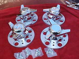 Chevy Pick up Truck 5 On 5 Factory Rally Center Caps With Sweep Spinners rc55