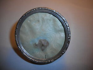 Sterling Silver Round Small Antique 2 Picture Frame Signed Lunt