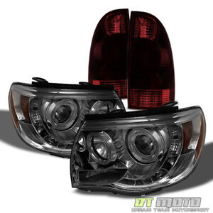 For 2005 2008 Toyota Tacoma Led Halo Smoke Projector Headlights Tail Brake Lamps