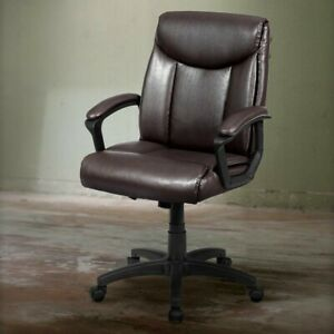 Ergonomic Pu Leather Executive Office Chair 360 Degree Swiveling Seat Brown Us
