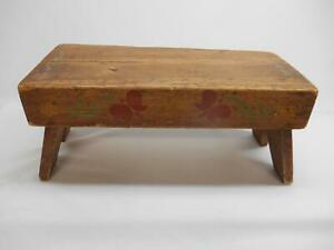 Antique Primitive Wood Step Stool Garden Bench Milking Seat Hand Painted Old Vtg