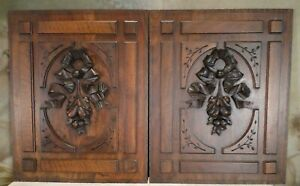 Hand Carved Wood Panel Antique French Mahogany Salvaged Carving