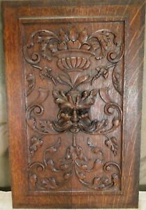 Hand Carved Wood Panel Antique French Walnut North Wind Salvaged Carving