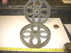 2 Cast Iron Lineberry Wood Factory Wheel Cart