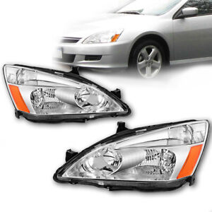 For Honda 2003 2007 Accord Clear Chrome Headlights Turn Signal Lamps Left Right