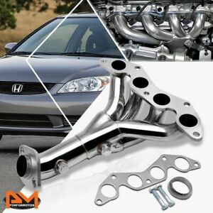 For 01 05 Honda Civic Dx lx D17a1 1 7l Stainless Steel Exhaust Header Manifold