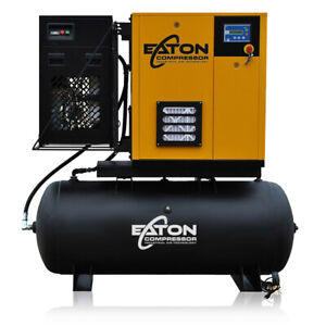 15hp Rotary Screw Air Compressor With Dryer Package 120 Gallon Tank 3 Phase 230v