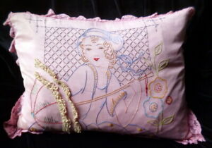 Antique Circa 1920s Hand Embroidered Boudoir Pillow Flapper Girl With Parasol