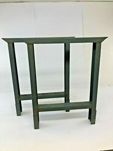 Vintage Steel Bench Ends Table Base Legs Pair Metal Industrial Rustic Work Gray