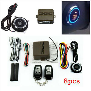 Car Alarm Security System Keyless Entry Engine Start Push Button Kit Remote
