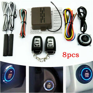 E Model Keyless Entry Alarm System Universal Car Engine Remote Start Push Button