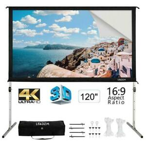 120 16 9 Fast Folding Projector Screen 4k Projection Movie Theater W carry Bag