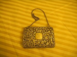 Antique Sterling Silver Purse Bag With Chain Victorian Pattern Sept 26th 1990