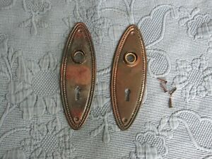 Pair Of Antique Victorian Door Knob Covers With Keyhole Old Copper Wash Finish