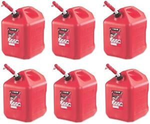 Midwest 5600 5 Gallon Red Poly Gas Gasoline Fuel Can W Spill Spout Pack Of 6