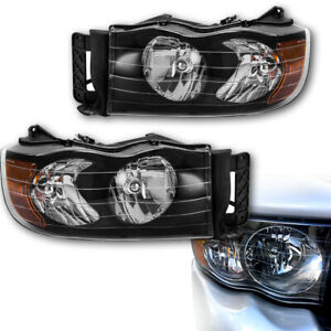 2002 2005 Dodge Ram 1500 2500 Headlight Head Lamps Black Pair Replacement