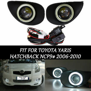 For Toyota Yaris Hatchback Front Fog Lamp Light Angel Eye Lamp Led Light Black