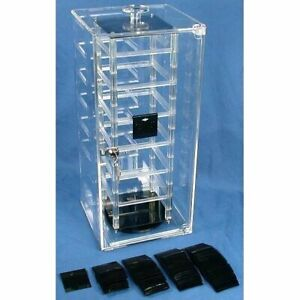 Revolving Rotating Earring Display Case 100 Black Cards